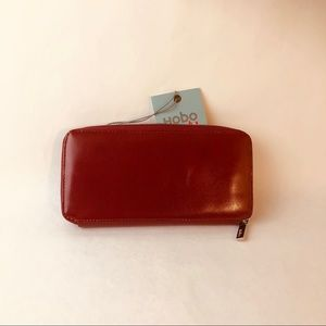 "Hobo Original Red Leather Zip-Around ""Lucy"" Wallet"
